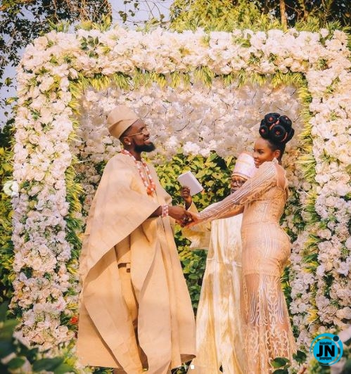 "This is what actually happened in Abule"" - Nigerians react as Patoranking 'ties  the knot' with Yemi Alade (photos) 